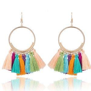 Jewelry - JUST IN!!! Long Tassel Fringe Boho Earrings MULTI